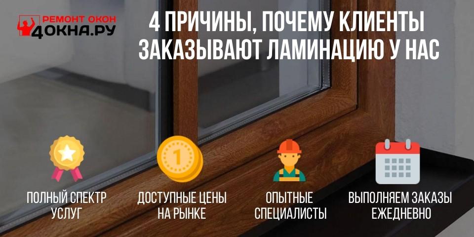 Преимущества ламинации от 4окна.ру