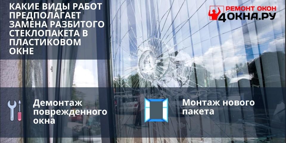 Какие виды работ предполагает замена разбитого стеклопакета в пластиковом окне