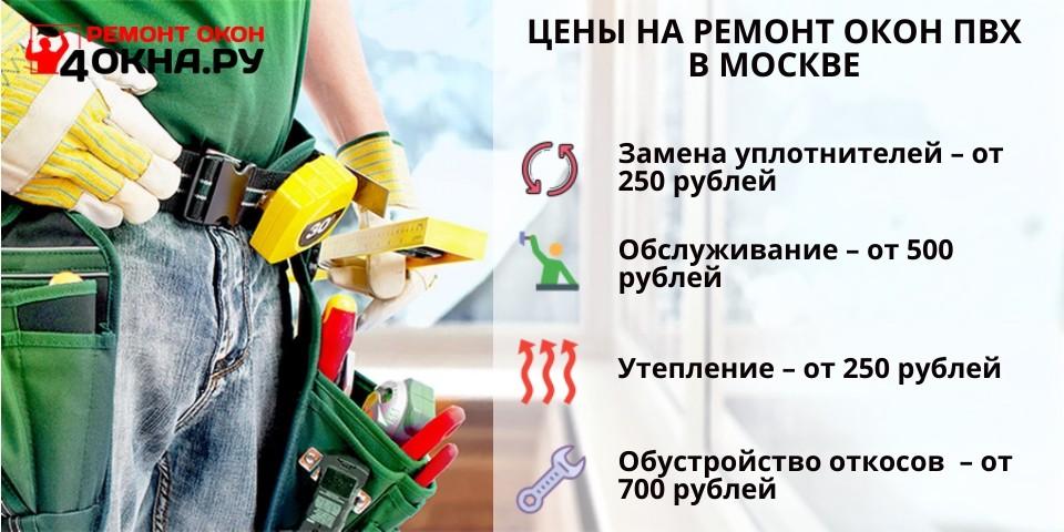 Цены на ремонт окон ПВХ в Москве